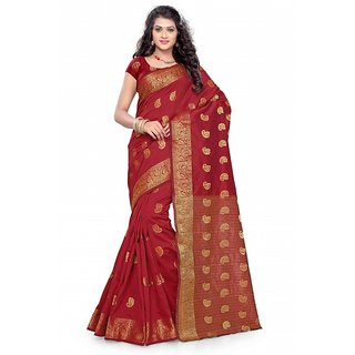 Satyam Weaves Gold & Red Polycotton Self Design Saree With Blouse