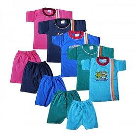 Jisha Fashion Unisex Tshirt  shorts set (Pack of 5 )