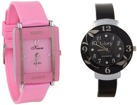 i DIVAS  Glory Combo Of Two Watches-Baby Pink Rectangular Dial Kawa And Black Circular Dial Glory Watches