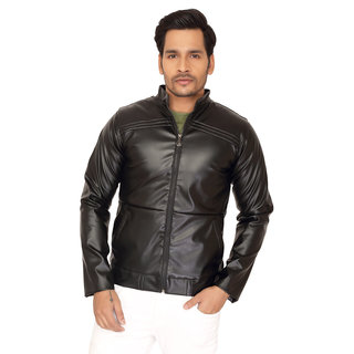Trustedsnap Black PU Jacket For men's (Black)