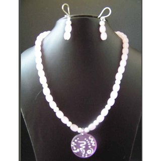 Baby Pink Beads Necklace With Pink And White Glass Pendant