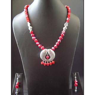 The Blood Red Multi-cut Glass Beads Necklace With Fish Spacers And Pendant