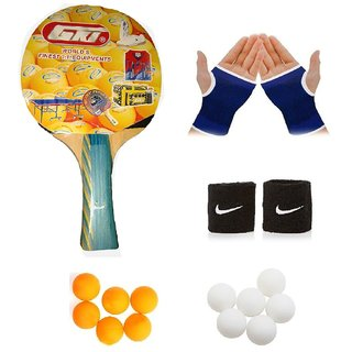 GKI Euro Fasto Table Tennis (T.T.F.I. Approved) Bat Combo with Pair of Palm Support Pair of Wrist Band Table Tennis B