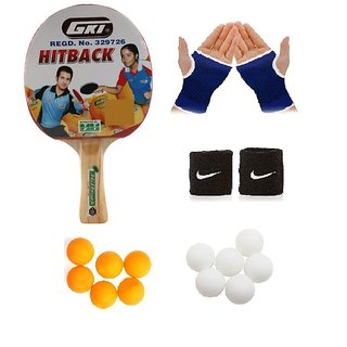 GKI Hitback Table Tennis (T.T.F.I. Approved) Bat Combo with Pair of Palm Support Pair of Wrist Band Table Tennis Ball