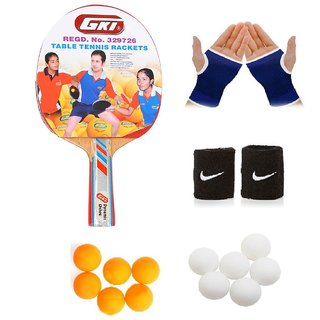 GKI Dynamic Drive Table Tennis (T.T.F.I. Approved) Bat Combo with Pair of Palm Support Pair of Wrist Band Table Tenni