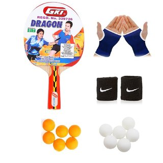 GKI Dragon Table Tennis (T.T.F.I. Approved) Bat Combo with Pair of Palm Support Pair of Wrist Band Table Tennis Balls
