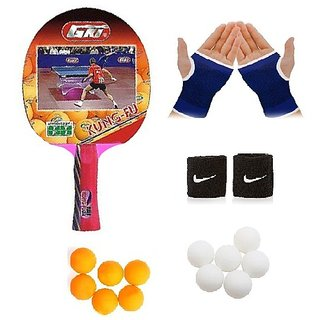 GKI Kung-Fu Table Tennis (T.T.F.I. Approved) Bat Combo with Pair of Palm Support Pair of Wrist Band Table Tennis Ball