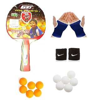 GKI Kung-Fu Dx Table Tennis (T.T.F.I. Approved) Bat Combo with Pair of Palm Support Pair of Wrist Band Table Tennis B