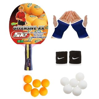 GKI Offensive XX Table Tennis (T.T.F.I. Approved) Bat Combo with Pair of Palm Support Pair of Wrist Band Table Tennis