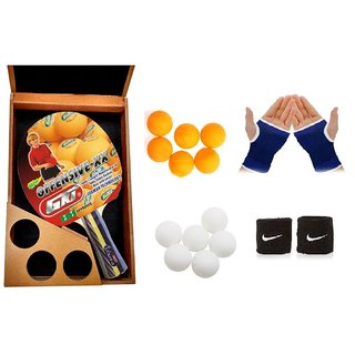GKI Offensive XX in Wooden Cover Table Tennis Bat Combo with Pair of Palm Support Pair of Wrist Band Table Tennis Bal