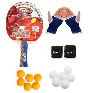 GKI Nano Force Table Tennis Bat Combo with Pair of Palm Support Pair of Wrist Band Table Tennis Balls (6 White + 6 Ye