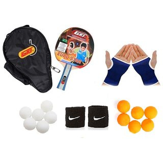 GKI Euro Star Table Tennis Bat Combo with Pair of Palm Support Pair of Wrist Band Table Tennis Balls (6 White + 6 Yel