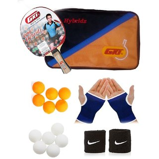 GKI Euro Hybridz Table Tennis Bat Combo with Pair of Palm Support Pair of Wrist Band Table Tennis Balls (6 White + 6