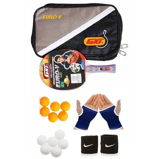GKI Euro V Table Tennis Bat Combo with Pair of Palm Support, Pair of Wrist Band  Table Tennis Balls (6 White + 6 Yellow