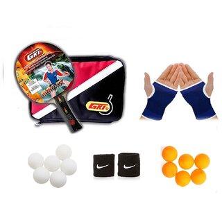 bc8b679c82 GKI Euro XX Table Tennis Bat Combo with Pair of Palm Support, Pair of Wrist  Band Table Tennis Balls (6 White + 6 Yello