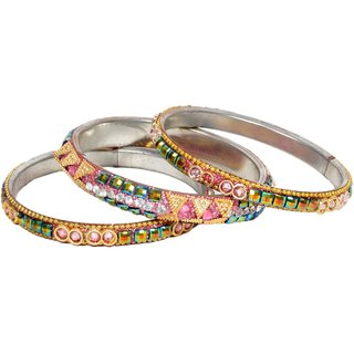 Pink Color Stoned Bangles