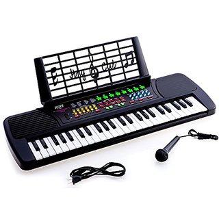 D'Luca Children 49 Keys Electronic Piano Music Keyboard Black