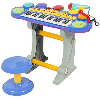 Best Choice Products Musical Kids Electronic Keyboard 37 Key Piano W/ crophone  Blue