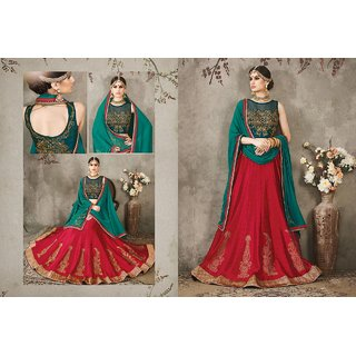 FashionBuck Peach Silk Semi Stitched Self Design Lehenga