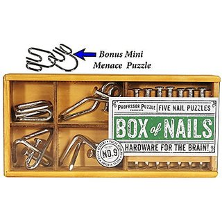 BOX of 5 Nails Puzzles IN Wood Box by Professor Puzzle _ Bonus Style