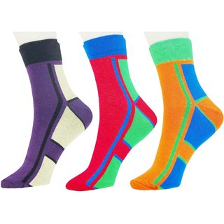 Neska Moda Premium 3 Pair Unisex Cotton Checks Ankle Length Socks Multicolor S446