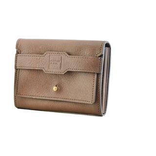 Canvas  Awl Genuine Leather Dark Brown Ladies Wallet