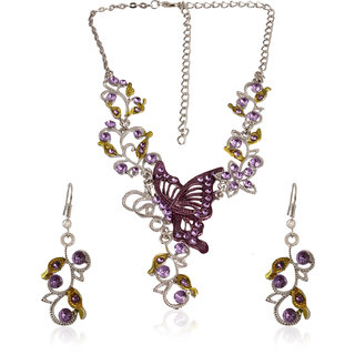 Fasherati Silver and Purple Crystal Butterfly and Flowers Pendant Set with Earrings for Girls