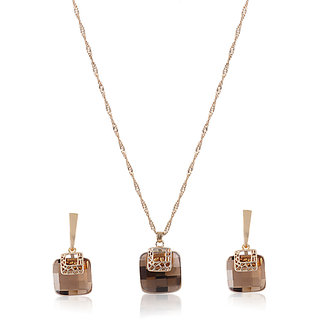 Fasherati Golden and Brown Crystal Square Pendant Set with Earrings for Girls