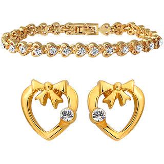 Mahi Gold Plated Heart shape combo of Earring  Bracelet with CZ for Women CO1104592G