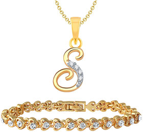 Mahi Gold Plated Gold & White Alloy Pendant Only for Women-Combo