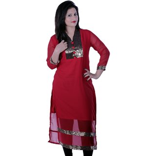 Red Solid Georgette Kurti With Gold Detail
