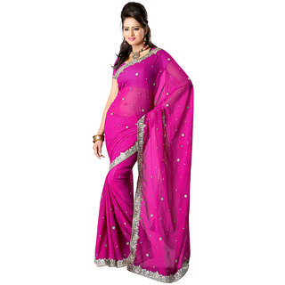 Ansu Fashion Pink Embroidery Georgette Saree (Option - 3)