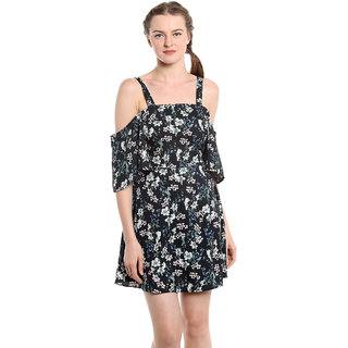 NOBLE FAITH 100 Polyester Black printed side cut out cold shoulder dress for womens