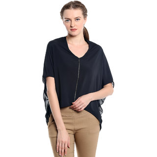 NOBLE FAITH 100Polyester Comfort Fit Black front open bat wing Top for womens