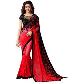 New Designer Saree Red EMBROIDRED Georgette Saree