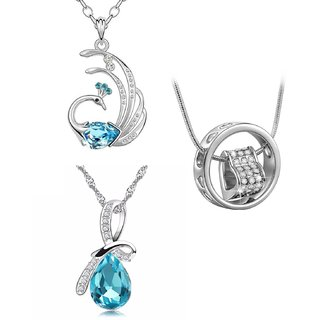 OM Jewells Rhodium Plated Contemporary 3 Pendant Set For Women