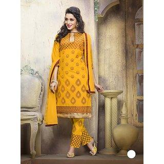 Womaniya Online Yellow Cotton Straight Suit