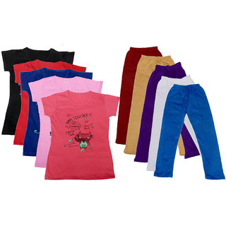 Indistar Girls Cotton T-shirt With Leggings(Pack of 5 T-Shirts and 5 Leggings)_Red::White::Multicolored_30