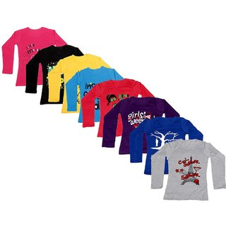 Indistar Girls Cotton Full Sleeve Printed T-Shirt(Pack of 8 T-Shirts)_Red::Purple::Blue::Gray::Black::Yellow_8-9 Years