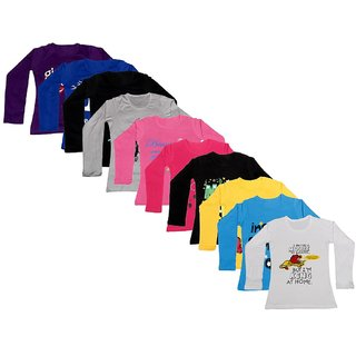 Indistar Girls Cotton Full Sleeve Printed T-Shirt(Pack of 10 T-Shirts)_Multi-Coloured_8-9 Years