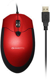 Amkette Weego Pro Optical Mouse With Ergonomic Design Red-Black