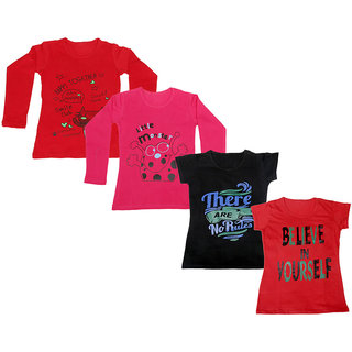 Indistar Girls 2 Cotton Full Sleeves and 2 Half Sleeves Printed T-Shirt (Pack of 4)_Red::Red::Black::Red_Size: 6-7 Year