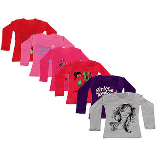 Indistar Girls 6 Cotton Full Sleeves Printed T-Shirt (Pack of 6)_Red::Purple::White::Red::Red::Pink_Size: 6-7 Year