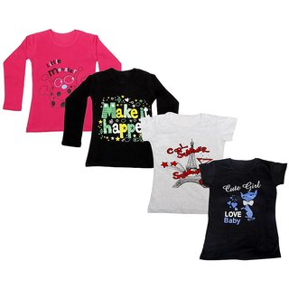 Indistar Girls 2 Cotton Full Sleeves and 2 Half Sleeves Printed T-Shirt (Pack of 4)_Red::Black::Grey::Black_Size: 6-7 Year