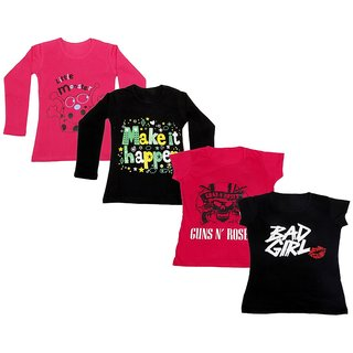 Indistar Girls 2 Cotton Full Sleeves and 2 Half Sleeves Printed T-Shirt (Pack of 4)_Red::Black::Red::Black_Size: 6-7 Year