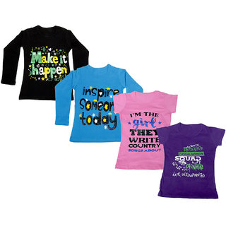 Indistar Girls 2 Cotton Full Sleeves and 2 Half Sleeves Printed T-Shirt (Pack of 4)_Black::Blue::Pink::Purple_Size: 6-7 Year
