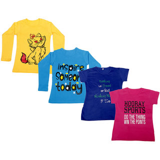 Indistar Girls 2 Cotton Full Sleeves and 2 Half Sleeves Printed T-Shirt (Pack of 4)_Yellow::Blue::Blue::Pink_Size: 6-7 Year