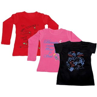 Indistar Girls 2 Cotton Full Sleeves and 1 Half Sleeves Printed T-Shirt (Pack of 3)_Red::Pink::Black_Size: 6-7 Year
