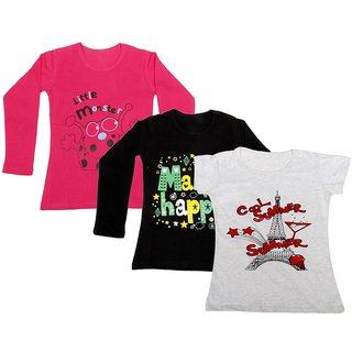 Indistar Girls 2 Cotton Full Sleeves and 1 Half Sleeves Printed T-Shirt (Pack of 3)_Red::Black::Grey_Size: 6-7 Year