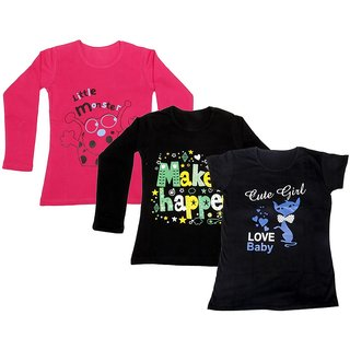 Indistar Girls 2 Cotton Full Sleeves and 1 Half Sleeves Printed T-Shirt (Pack of 3)_Red::Black::Black_Size: 6-7 Year